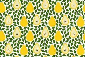 fundo tropical com peras. frutas fundo repetido. ilustração em vetor de um padrão sem emenda com frutas. design abstrato exótico moderno.