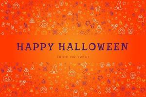 cartão feliz dia das bruxas com desenhos à mão vetor