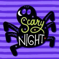 cartão de halloween com letras fofas e aranha vetor