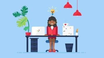 mulher de negócios africana tem uma nova ideia no local de trabalho vetor