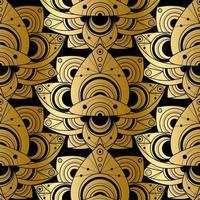 brilhante floral sem costura padrão design dourado ornamentado vetor