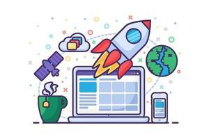 vetor de sucesso de novos negócios de lançamento de foguete de inicialização