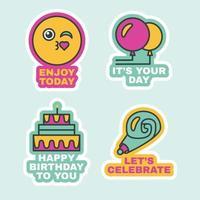 conjunto de adesivos, evento de festa de aniversário, rótulos fofos vetor