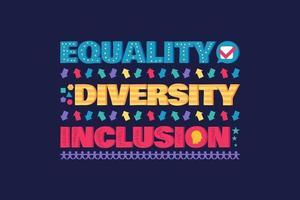 banner ou panfleto de diversidade com letras, igualdade vetor