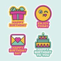 feliz aniversário rótulos cômicos ícone de adesivo vetor