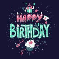feliz aniversário desenhados à mão letras coloridas vetor