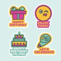 conjunto de etiquetas de aniversário, adesivos de saudação fofos planos vetor
