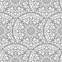 Preto e branco monocromático mandala boho padrão sem emenda vetor