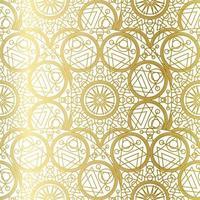 Golden Luxury Art Mandala Boho Seamless Pattern vetor