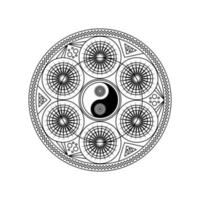 símbolo yin yang em padrão geométrico oriental vetor