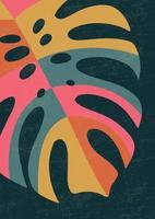 cartaz de arte botânica contemporânea na parede. folhagem tropical linha arte desenho com forma abstrata. projeto da arte da planta abstrata boho para impressão, capa, papel de parede. arte de parede mínima e natural de meados do século ilustração vetorial vetor