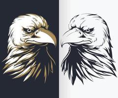 Conjunto de vetores silhueta de águia careca isolada