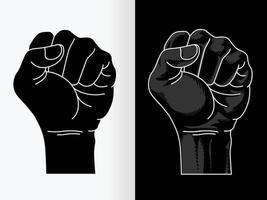punho levantado poder preto vidas importa contorno silhueta conjunto de desenho vetorial vetor
