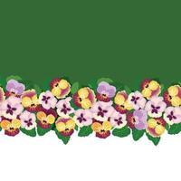 padrão de borda sem costura floral. fundo da flor heartsease. decoração floral sem costura com flores. florescer papel de parede com azulejos vetor