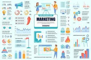 agrupar elementos de infográfico de marketing e promoção vetor