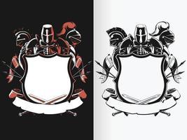 silhueta cavaleiro escudo crista estêncil desenho brasão vetor definido