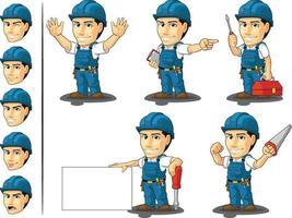 técnico dos desenhos animados, mascote, eletrican avatar vector conjunto de reparadores