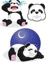 mascote dos desenhos animados do urso panda gigante dormindo chorando conjunto de desenho vetorial vetor