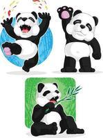 mascote do panda gigante desenho animado acenando feliz comendo conjunto de bambu vetor
