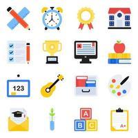 pacote de ícones lisos de acessórios escolares vetor