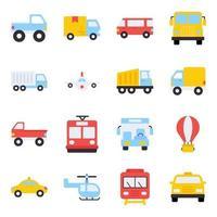 pacote de ícones planos de transporte vetor