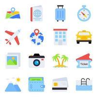 pacote de ícones planos de viagens vetor