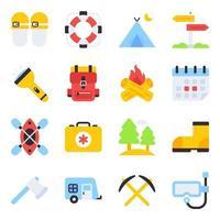 pacote de ícones planos de acampamento vetor