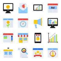 pacote de ícones planos de marketing na web vetor