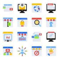 pacote de ícones lisos de compras na web vetor