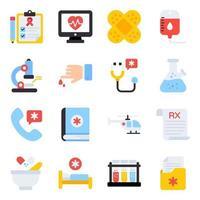 pacote de ícones planos de medicamentos vetor
