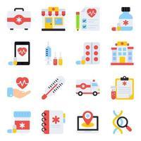 pacote de ícones planos médicos vetor