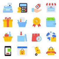 pacote de compra de ícones planos vetor