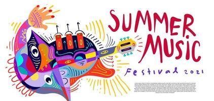 ilustração vetorial banner colorido festival de música de verão vetor