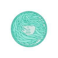 mulher polinésia alga marinha cabelo círculo mono linha vetor