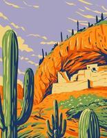 morada de penhasco em estilo salado e cacto saguaro no monumento nacional de tonto nas montanhas superstições localizadas no condado de gila, arizona arte de pôster wpa vetor
