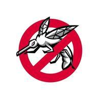 pare o mascote do sinal do mosquito vetor