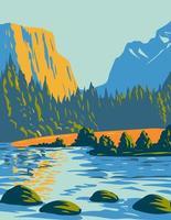 parque nacional do voyageurs localizado no norte de minnesota, perto da fronteira canadense arte de pôsteres wpa vetor