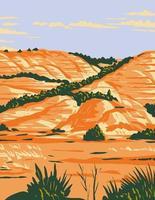 badlands dakota do norte no parque nacional theodore roosevelt localizado em medora arte do cartaz wpa vetor