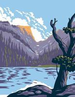 lago loch no parque nacional das montanhas rochosas em frente às montanhas rochosas localizadas no norte do Colorado arte do pôster wpa vetor