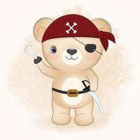 ilustração em aquarela de urso pirata fofo vetor