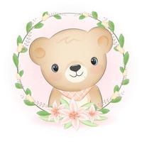 quadro de urso e flora, ilustração em aquarela animal de desenho animado vetor
