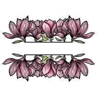 fronteira, quadro de flores de magnólia, silhueta de flores desabrochando. primavera, design floral para cartões, convites, embalagens vetor