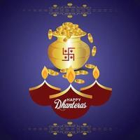 Cartão comemorativo do festival indiano com pote de moedas de ouro vetor