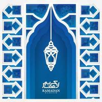 delicado corte de papel ramadan kareem design vetor