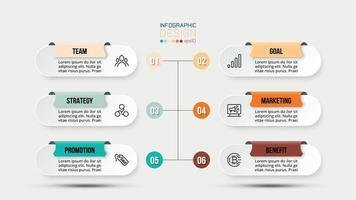 Modelo de infográfico de fluxo de trabalho de processo de 6 etapas. vetor
