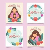 coleção de design de cartão feliz para o dia das mães vetor