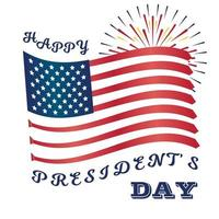 arte do dia dos presidentes com a bandeira dos EUA e fogos de artifício. gravatas vetor