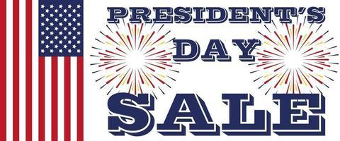 arte da venda do dia dos presidentes. bandeira dos eua e fogos de artifício vetor