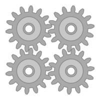 conjunto de quatro engrenagens de aço. ícone do vetor ou ilustração técnica. parte do mecanismo de engrenagem.