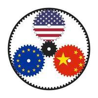 engrenagem planetária com bandeiras dos eua, ue e china. um esquema ilustrativo da política e economia mundial. vetor